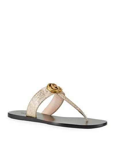 Marmont Metallic Leather Flat Thong Sandal