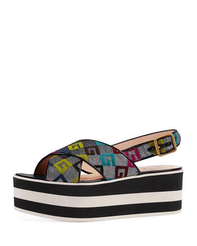 Velvet G Lurex Crossover Platform Sandal, Argento
