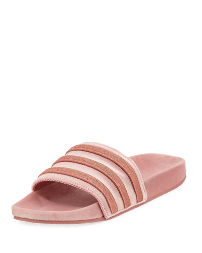 Women's Adilette Striped Velvet Slide Sandal, Raw Pink