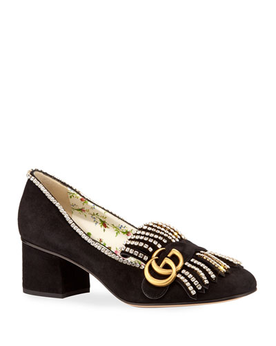 5mm Marmont Suede Pump with Crystals