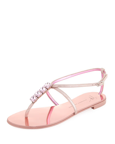 Flat Jeweled Metallic Leather Thong Sandal