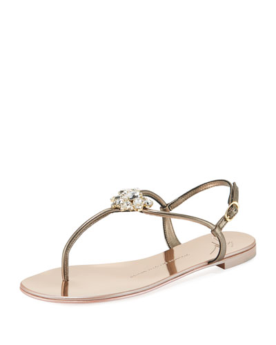 Flat Embellished Metallic Leather Sandal