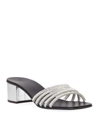 Crystal-Embellished 40mm Slide Sandal