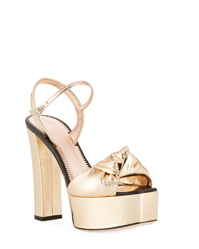 Knotted Metallic Platform Sandal, Gold