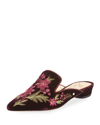 Aven Embroidered Velvet Mule Flat