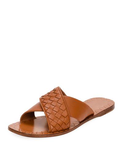 Intrecciato Crossover Leather Slides, Black