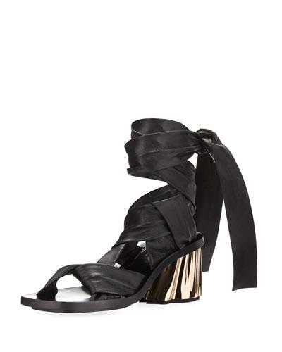 XMM Leather Ankle-Wrap Sandal, Black