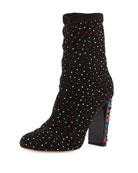 Jimmy Choo Maine Stretch Suede Crystal Embellished Booties