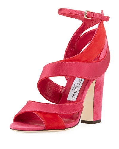 Falcon Mixed Satin/Suede Sandal