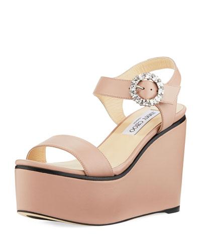 Nylah Leather Wedge Platform Sandal