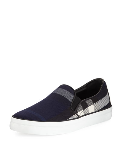 Gauden Check-Print Slip-On Sneaker, Indigo Blue