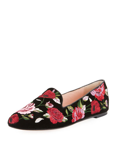 swinton floral-embroidered velvet flat