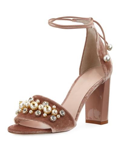 iverna velvet embellished city sandal
