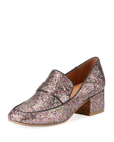 Eliott Low-Heel Glitter Leather Loafer