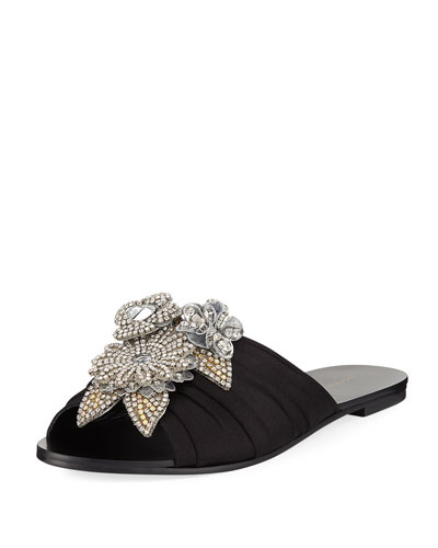 Lilico Crystal Ruched Satin Slide Sandal