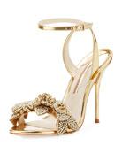 Lilico Metallic Floral Ankle-Wrap Sandal