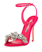 Lilico Crystal Satin Sandal, Bright Pink
