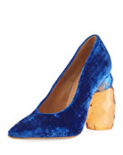 Resin-Heel Velvet Pump