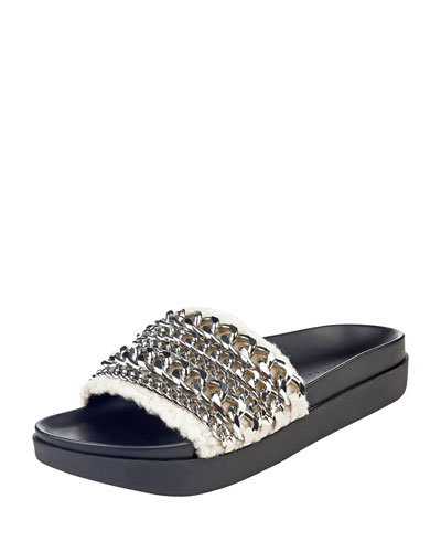 Shiloh Chain-Trim Faux-Fur Flat Slide Sandal