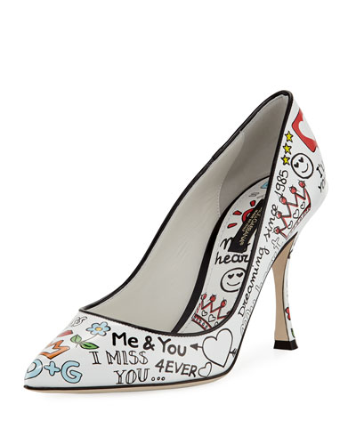 85mm Graffiti-Print Leather Pump