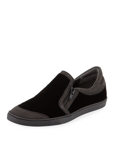 Frida Novel Velvet Slip-On with Leather Trim