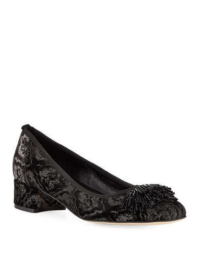 Flynn Ornament Suede Pumps, Black