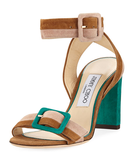 Jimmy Choo Dacha Block-Heel Suede Colorblock Sandals