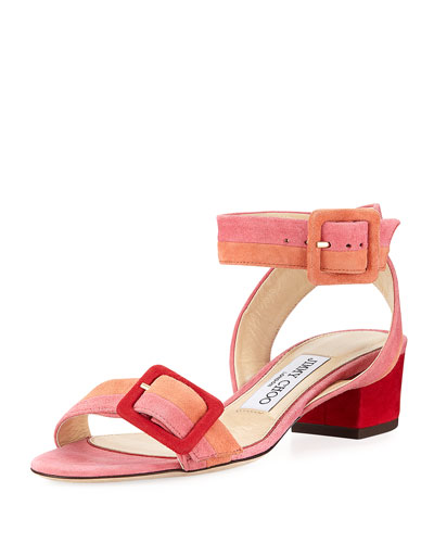 Dacha Low-Heel Suede Colorblock Sandal