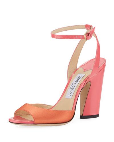 Miranda Two-Tone Satin and Patent Sandal