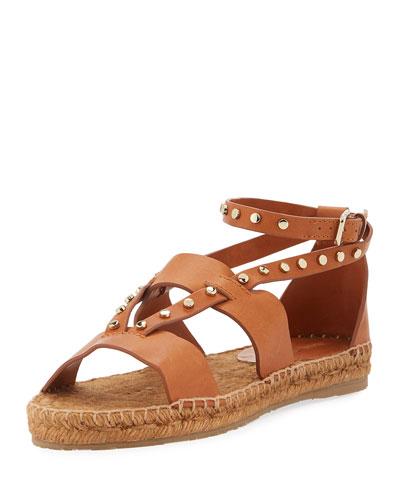 Denise Flat Studded Sandal, Tan