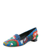 Sadie Needlepoint Flat Loafer