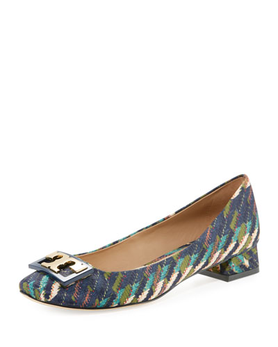 Gigi Printed Satin Low-Heel Pump