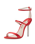 Rosalind Satin Sphere-Heel Sandal, Red