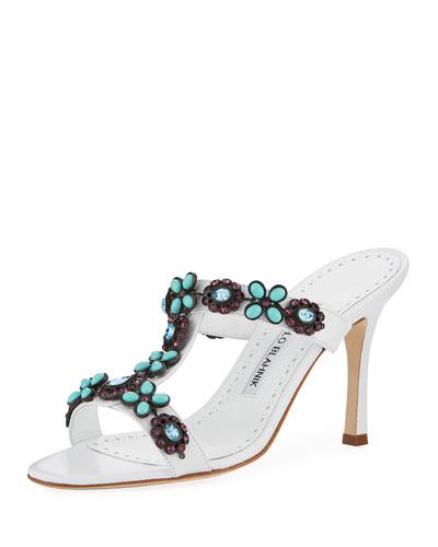 Lla Leather Embellished Slide Sandal