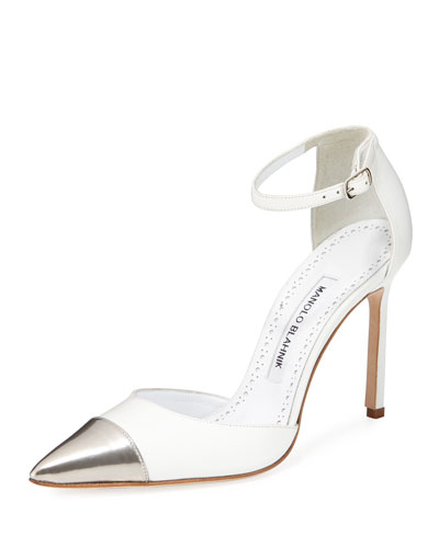 Trova Cap-Toe Leather 105mm Ankle-Wrap Pump