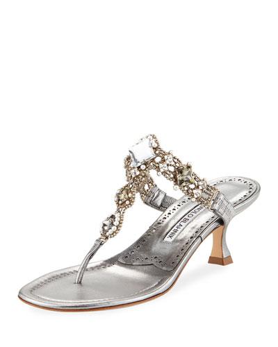 Immro 50mm Jeweled Thong Sandal