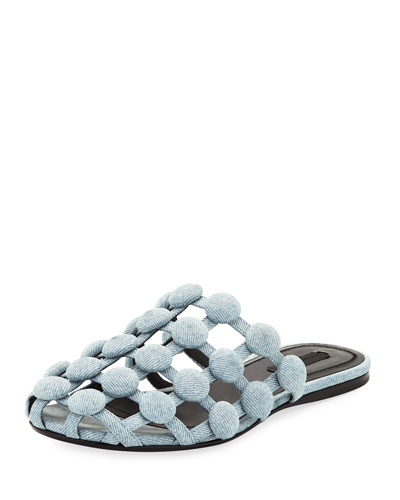 Amelia Grid Studded Caged Denim Mule Flat