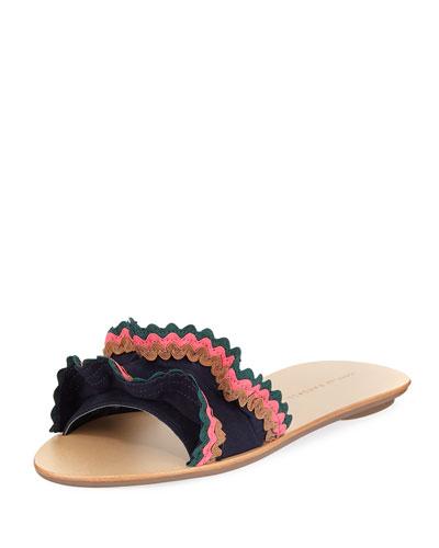 Birdie Suede Flat Ruffled Sandal