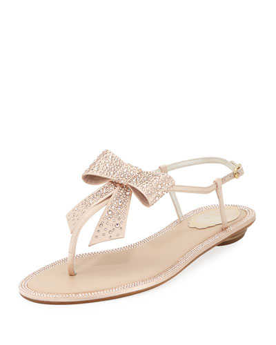 Embellished Satin Flat Bow Sandal
