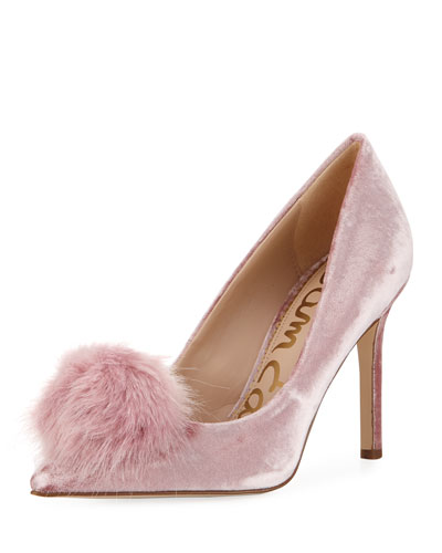 Haroldson Velvet Pompom Pump, Faded Rose