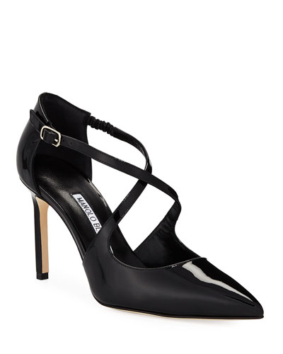 Umice Patent Crisscross Leather Pump