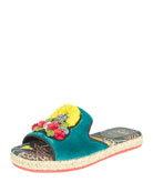 Pacha Raffia Red Sole Flat Sandal