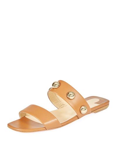 Simple Bille Flat Calf Leather Red Sole Slide Sandal