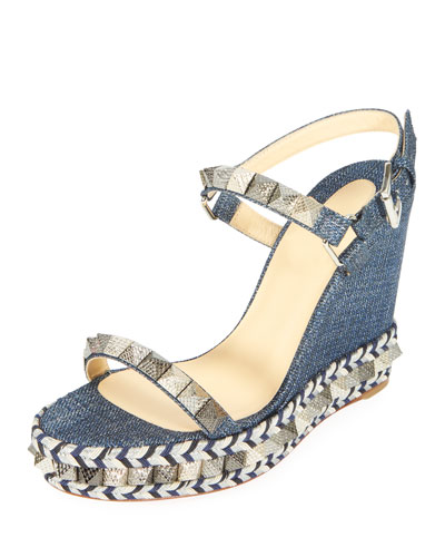 Pyraclou Spike Denim Wedge Red Sole Sandal