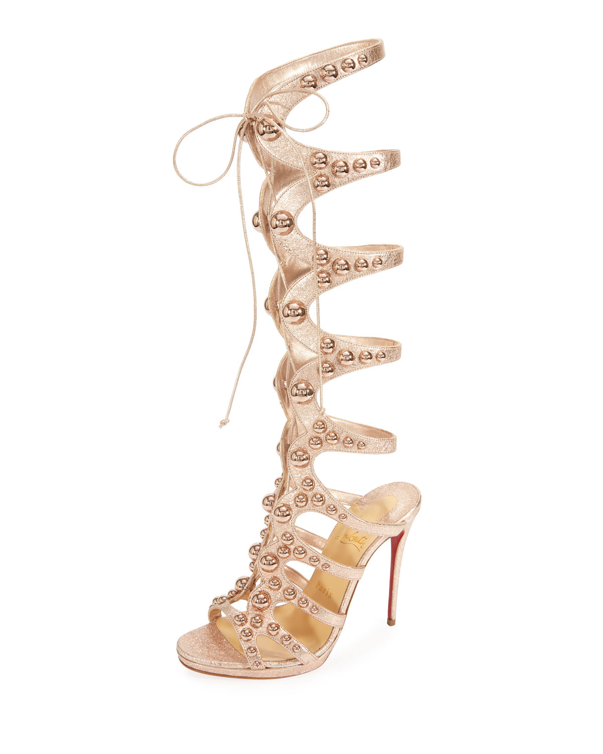 Amazoutiful 120mm Leather Gladiator Red Sole Sandal