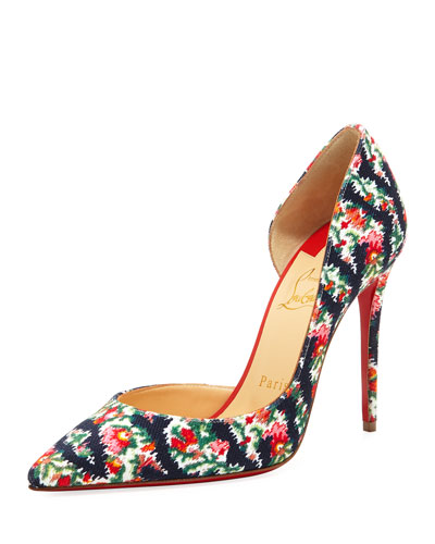 Iriza Fabric Red Sole Pump