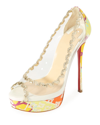 Fictoire Transparent Platform Red Sole Pump
