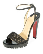 Volumetric Platform Red Sole Sandal, Black