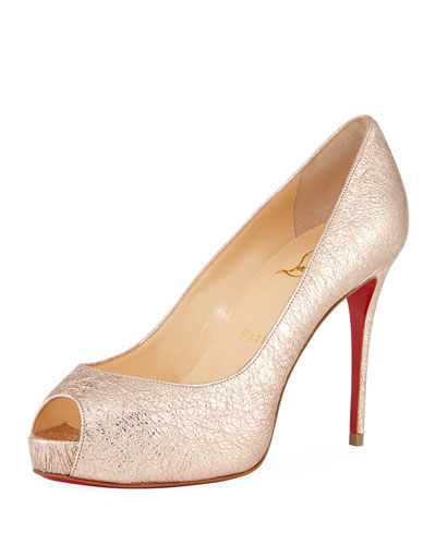 New Very Prive 100mm Crackled Leather Red Sole Pump
