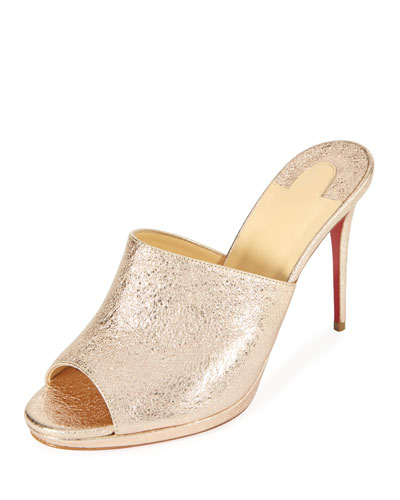 68ca5aa288b Christian Louboutin Pigamule 100Mm Metallic Leather Red Sole Slide Sandal  In Rose Gold
